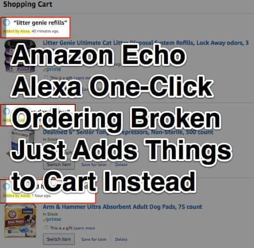 Amazon Echo Alexa One-Click Ordering Broken – Just Adds Things to Cart Instead