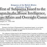 Full Text of Subpoena Issued to the Pentagon by the House Intelligence, Foreign Affairs and Oversight Committees on Monday October 7 2019