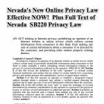 Nevada's New Online Data Privacy Law in Effect NOW! Also Full Text of Nevada SB220 Privacy Law