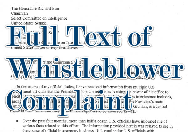 Searchable Full Text of Whistleblower Complaint Regarding President Trump
