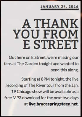 a thank from e street free download concert