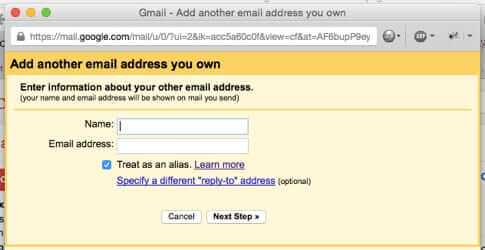 add another email address blank form gmail