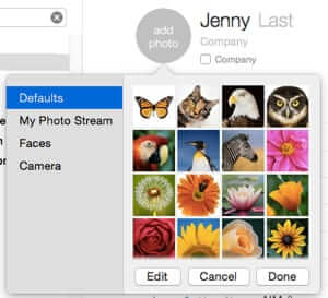 add photo in contacts defaults my photo stream faces camera