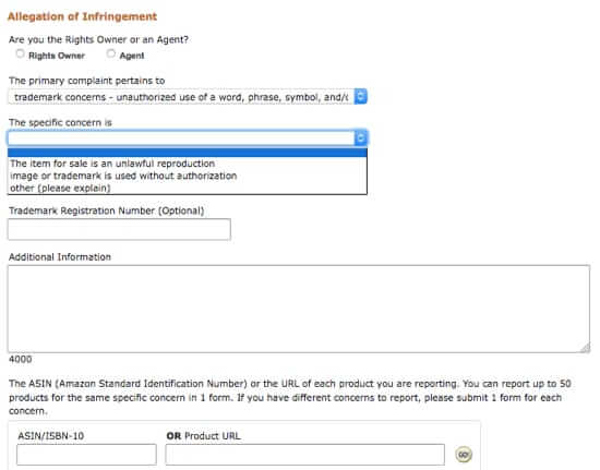 amazon allegation of infringement form-1