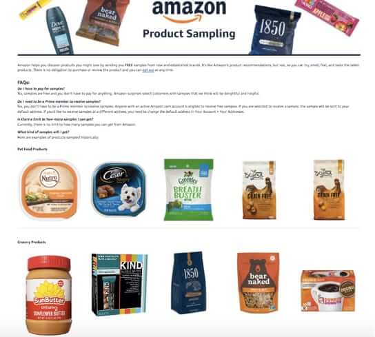 amazon free samples program page