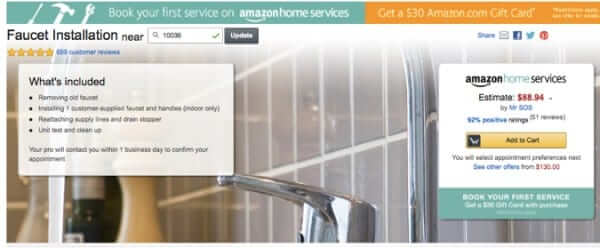 amazon home services faucet replacement estimate new york city