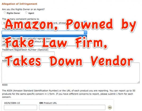 Amazon Boots Vendor Based on Fake Take Down Notice from Fake Law Firm