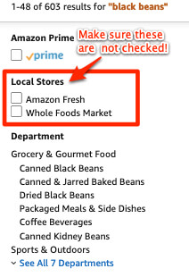 amazon search options