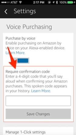 amazon echo shopping ordering confirmation code