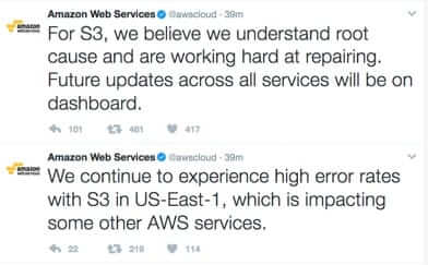 amazon s3 aws outage 2017 tweets from amazon