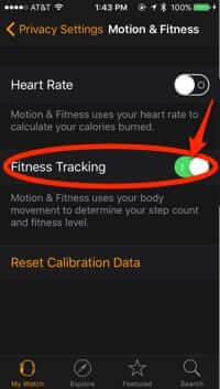 apple watch app settings fitness tracking on
