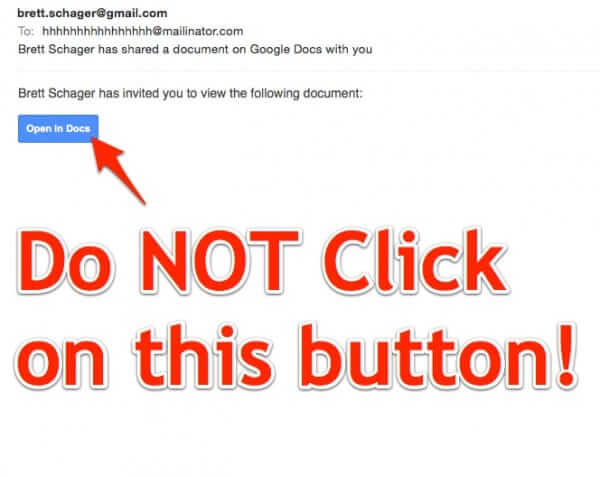 Do NOT Open Link in Unexpected Email with Google Docs Link Button!