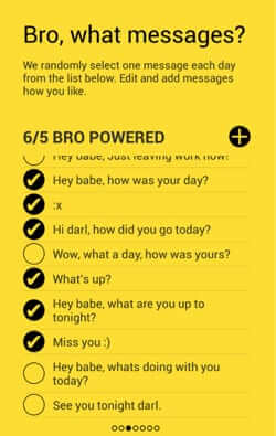 bro app automated sms text messages
