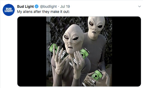 bud light aliens after they make it out of area 51