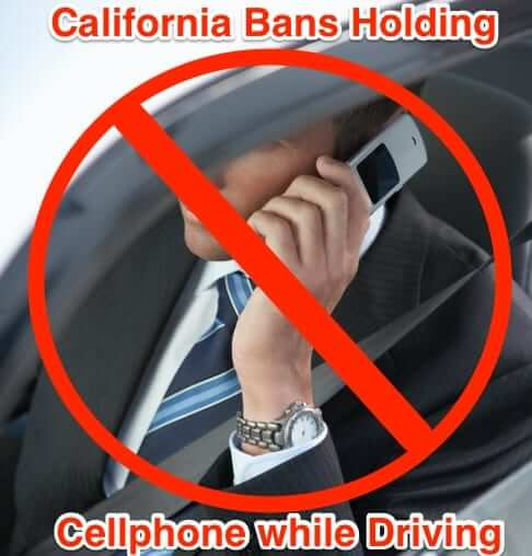 california bans holding cell phone while driving