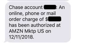 chase notification of new charge