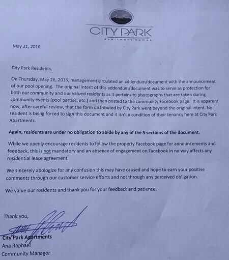 city park apartment apology retraction facebook addendum