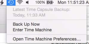 clicked time machine status bar icon