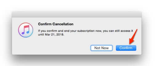 confirm cancellation of apple subscriptioin