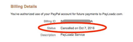 confirm cancellation of paypal subscription billing agreement
