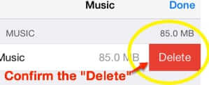 confirm delete all music iphone
