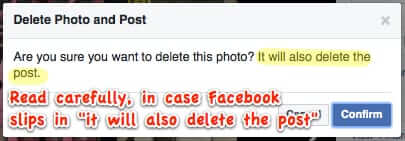 confirm facebook photo deletion will delete post