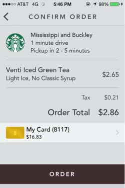 confirm starbucks mobile order and pay order