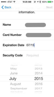 credit card expiry date apple pay