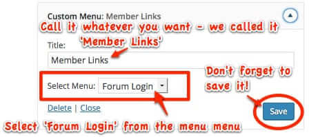 custom menu widget - forum login