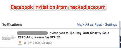 facebook hacked account spam ray-bans