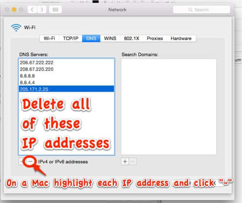 delete DNS server IP addresses settings preference mac