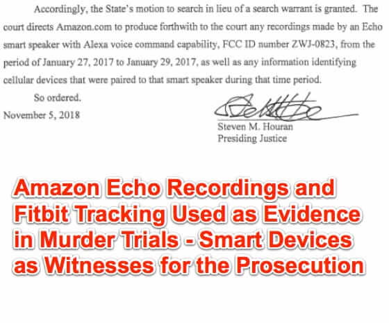 Amazon Echo Recordings and Fitbit Tracking Used as Evidence in Murder Trials – Smart Devices as Witnesses for the Prosecution