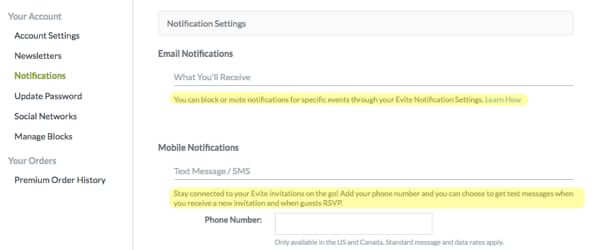 evite email notifications settings sms mobile notification settings