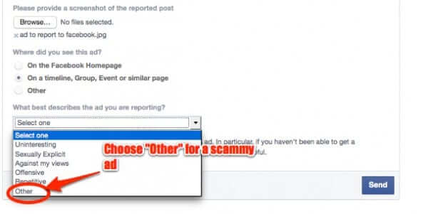 facebook ad reporting dropdown
