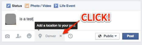 facebook add a location to your post to remove location click on the x
