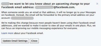 facebook email going away