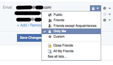 facebook email privacy settings