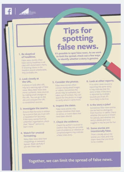 facebook full page ad in uk british newspapers avoid fake news
