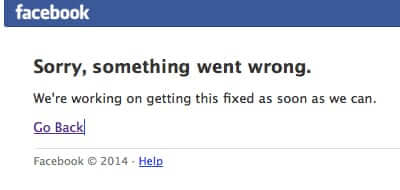 facebook is down facebook page