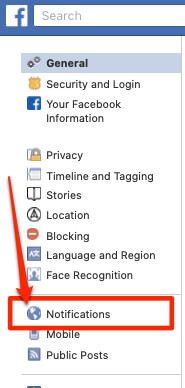 facebook notification notifications settings