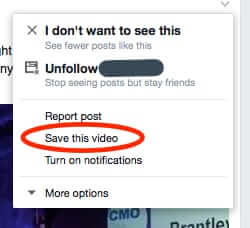 facebook save this video option
