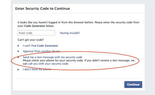 facebook security code generator text message