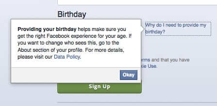 facebook why provide birthday date of birth