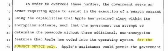 fbi v. apple just one phone ps and as page 7