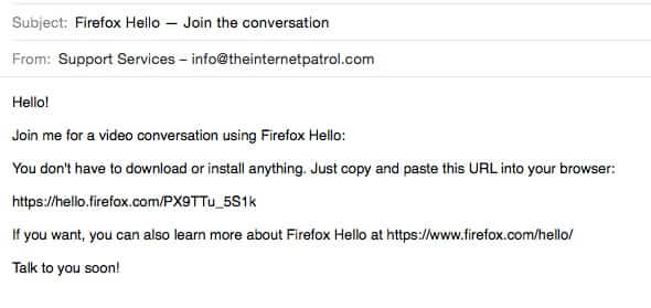 firefox hello email invitation