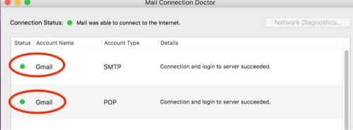 gmail connection doctor green dots