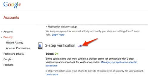 google 2-step verification settings