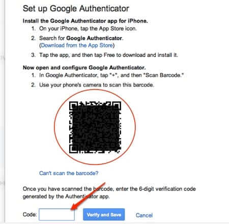 google authenticator qr barcode