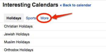 google interesting calendars more