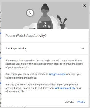google notice of pausing search history archiving
